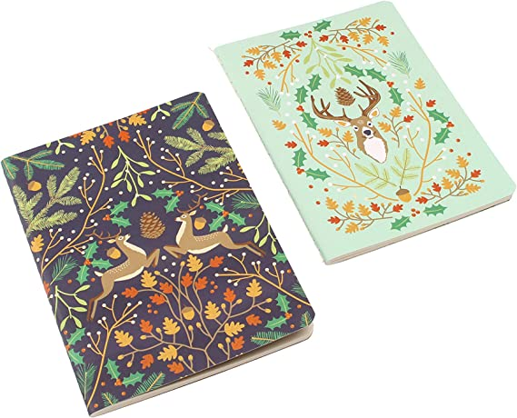 Seasons Greetings - Pack de dos libretas con diseño de renos (A6 ...