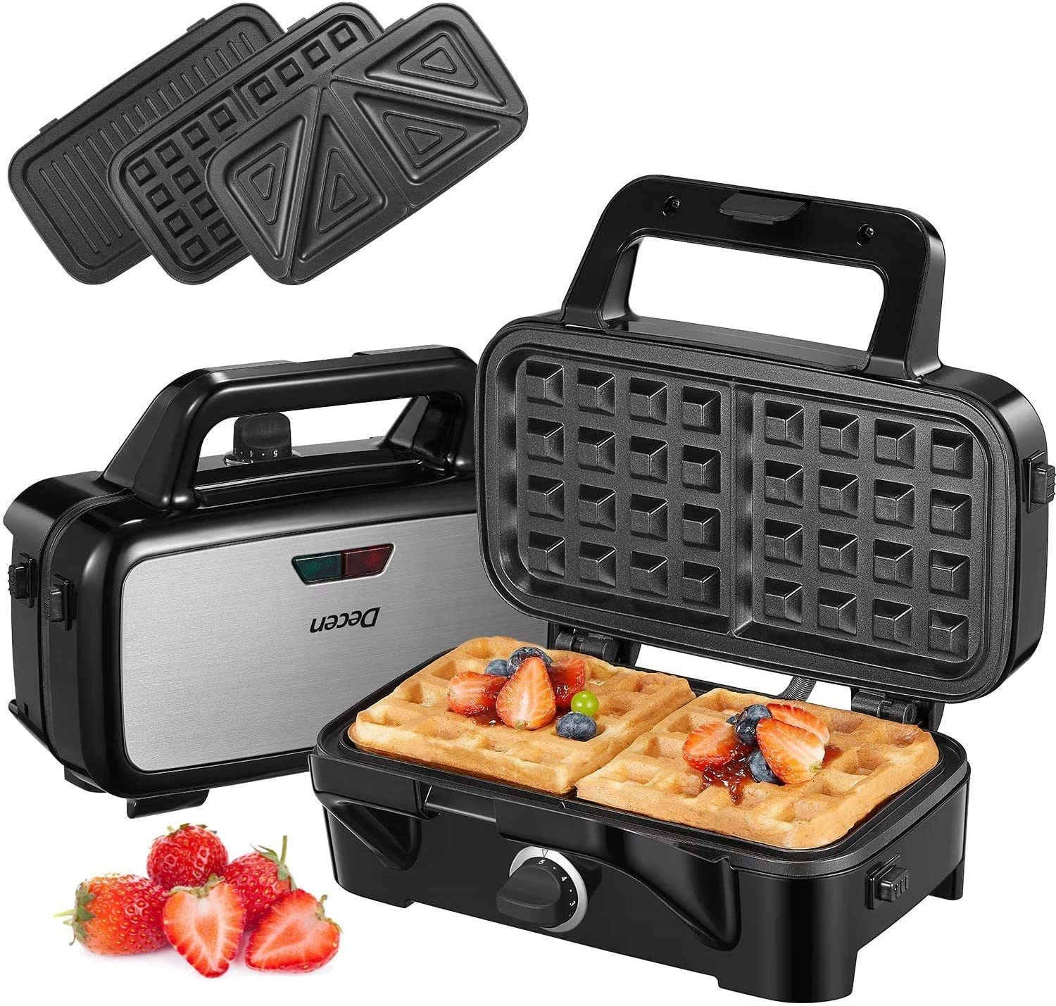DecenWaffleMaker 3 in 1 SandwichMaker withRemovable Plates, 1200W PaniniPressGrill with 5-gearTemperatureControl, and LEDIndicator,CoolTouchHandle,Silver