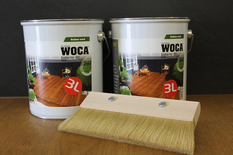 2 x Woca Exterior Öl Teak, 3,0 Liter mit Fußbodenstreichbürste 150mm