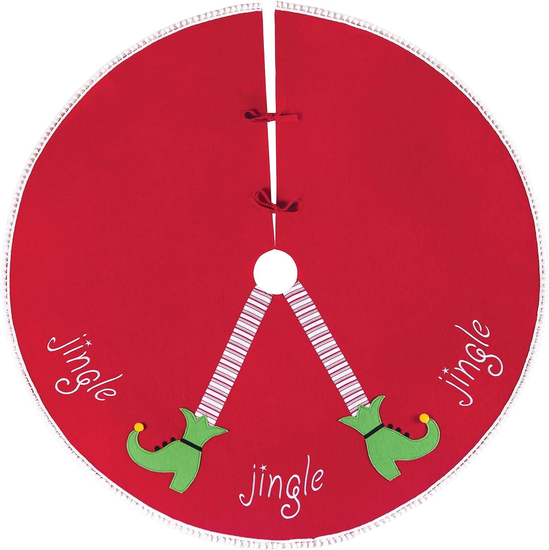 NOUVEAU 90 cm FETE Rouge Feutre Avec Green Trim Santa Plus Arbre De Noël Jupe NOUVEAU