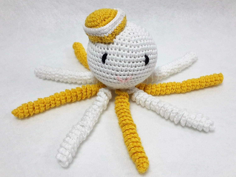 Pulpo amigurumi para recién nacido blanco-amarillo realizado con hilo de algodón. Pulpo de ganchillo - crochet para bebé.: Amazon.es: Handmade