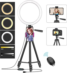 "10"" Ring Light with 50"" Tripod Stand and Phone Holder for Live Stream/Makeup, Desktop LED Camera Beauty Ringlight for YouTube Video Recording Compatible with iPhone 11 Xs Max XR Android(2020 Version)"