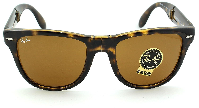 fc9f6c9d09 Amazon.com  Ray-Ban RB4105 Folding Wayfarer Unisex Sunglasses (Black Frame  Crystal Green Lens 601