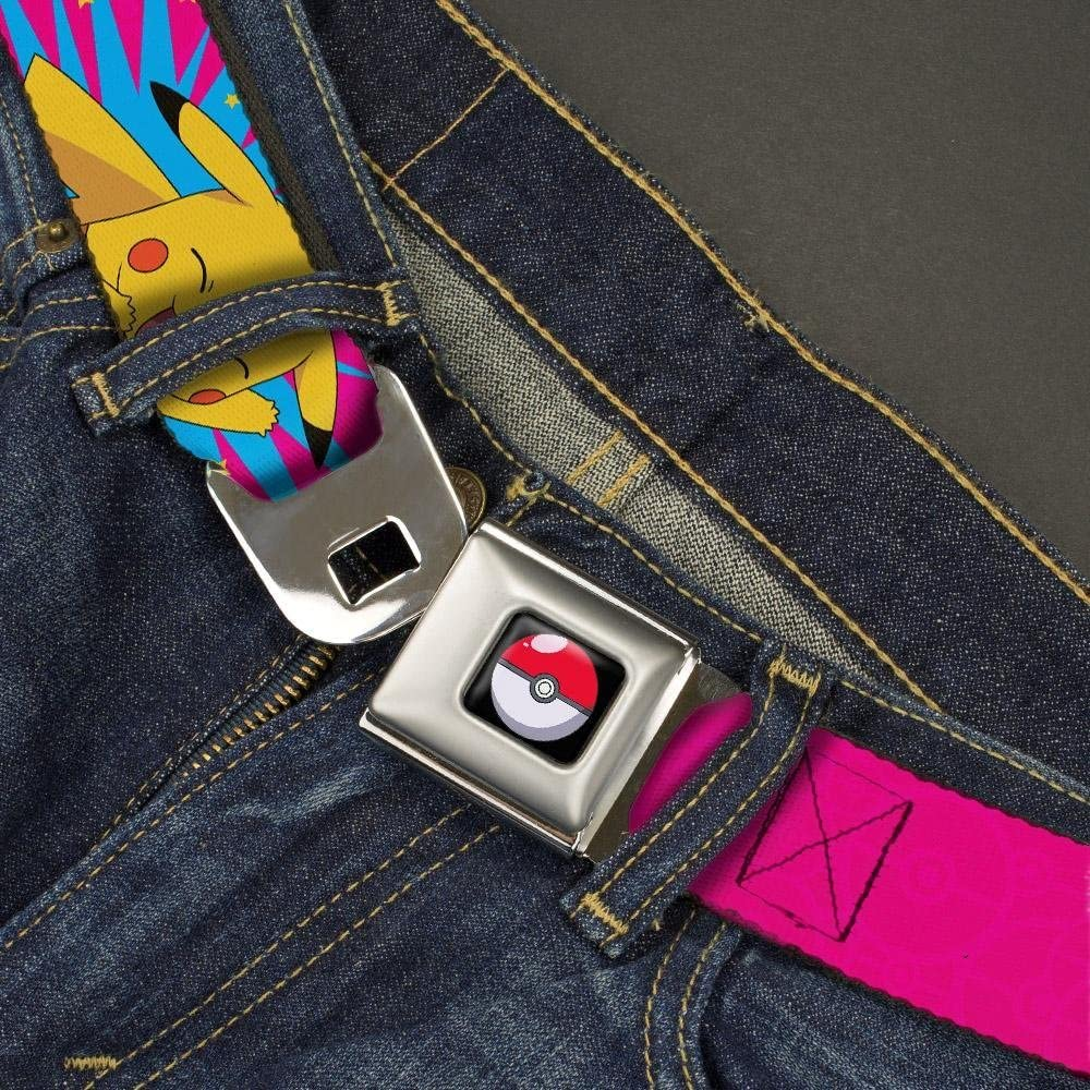 POKEMON Logo//Pikachu Happy Poses//Starburst Pinks//Blue//Yellow Buckle-Down Seatbelt Belt 20-36 Inches in Length 1.0 Wide