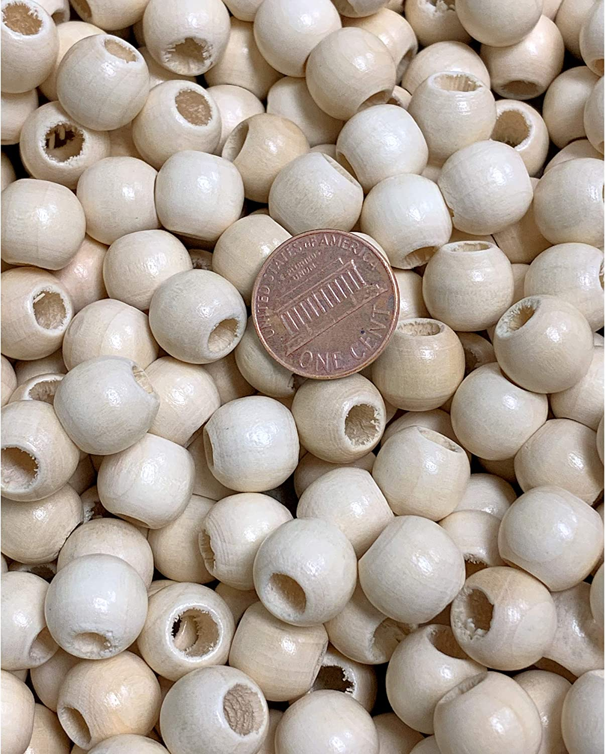 200 Pack 12mm Natural Wood Beads Matte Finish for Macrame Crafts Education
