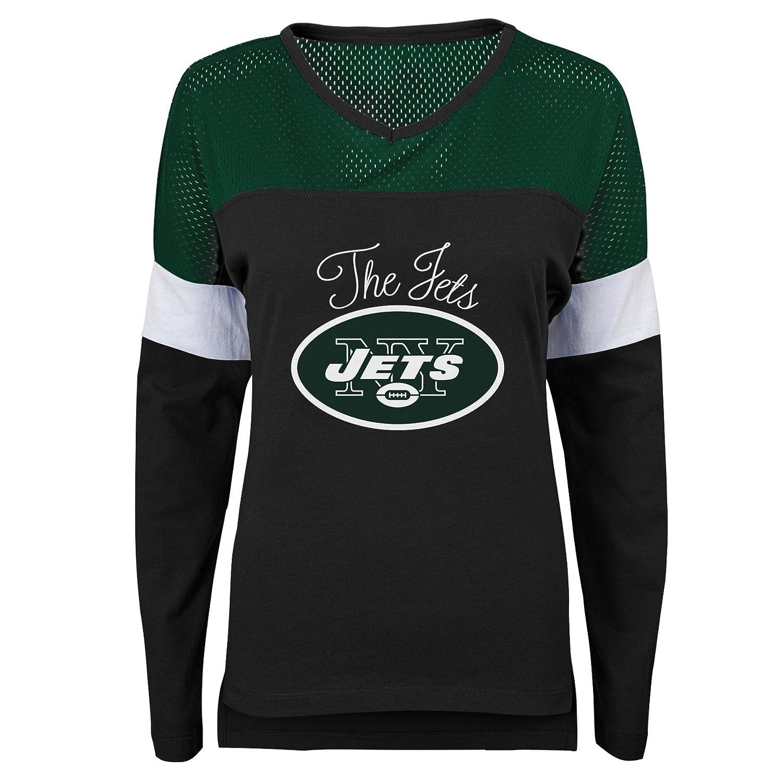 0-1 Juniors X-Small Outerstuff NFL NFL New York Jets Juniors Team Blocker Long Sleeve Tee Black