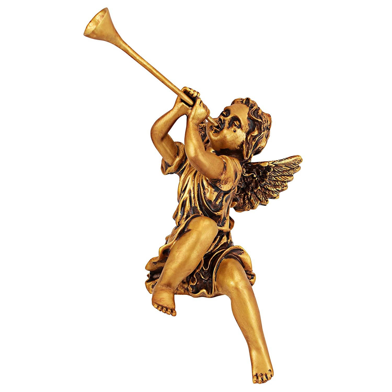Design Toscano Decorazioni di Natale - Trumpeting Angelo ragazza e del ragazzo di Piazza San Pietro - Vacanze Angel Statue JE930801