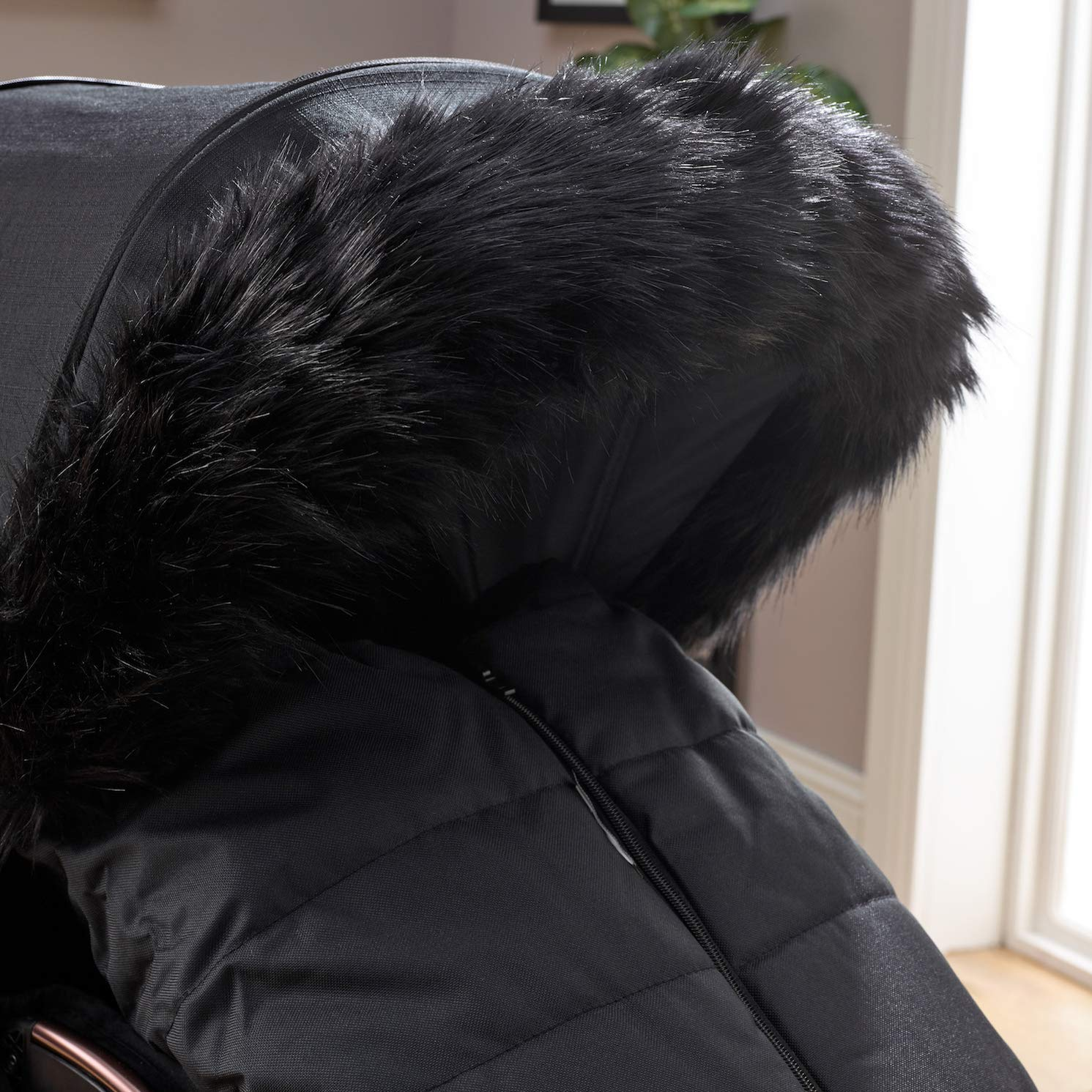 Clair de Lune Universal Pram Faux Fur Hood Trim Grey