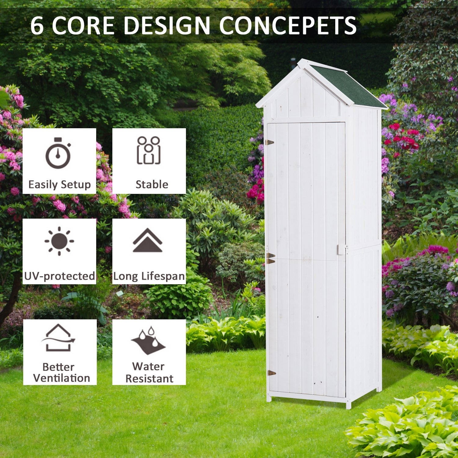 Outsunny wood garden shed w apex roof white for Name something you keep in a garden shed