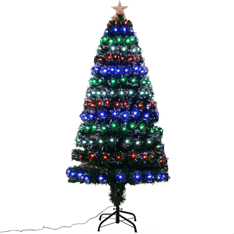 Support Pied /Ø 70 x 150H cm 200 Branches /étoile Sommet Brillante Vert Sapin de No/ël Artificiel Lumineux LED x 200 Blanc Chaud
