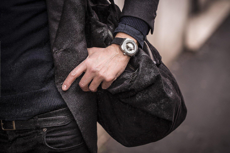FONDERIA Orologio da uomo The Gambler, elegante orologio vintage in acciaio inox, design italiano, ovale, data P-6a004uns