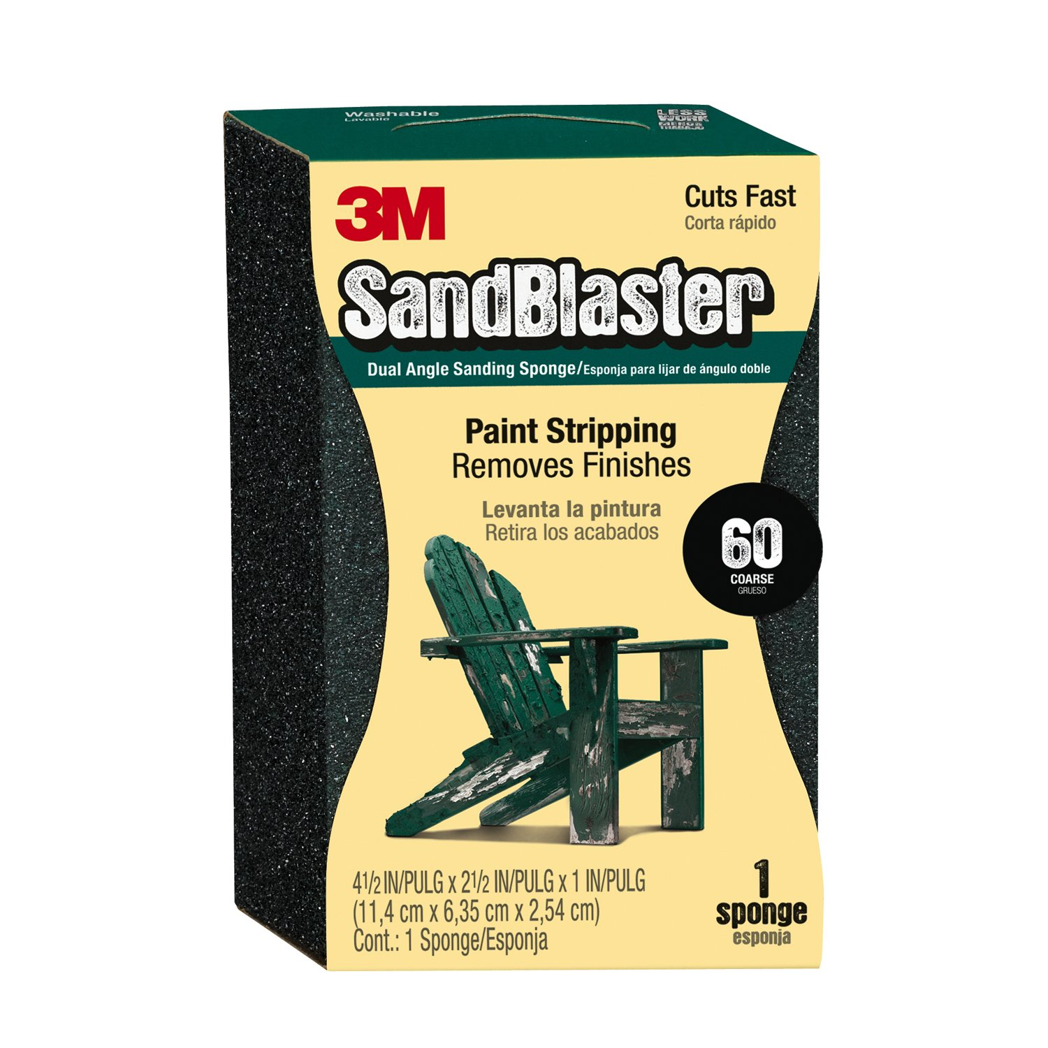 3M P60 SandBlaster Coarse Dual Angle Sanding Sponge for Paint Stripping, 9558 - (Pack of 1)