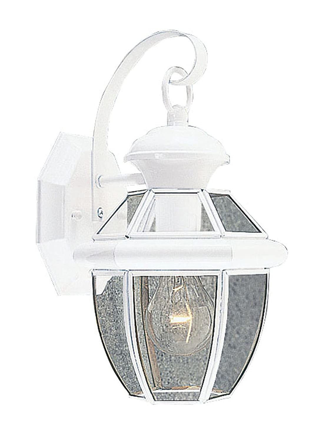 White Outdoor Wall Lantern Part - 39: Livex Lighting 2051-03 Monterey 1 Light Outdoor White Finish Solid Brass Wall  Lantern With Clear Beveled Glass - Wall Porch Lights - Amazon.com