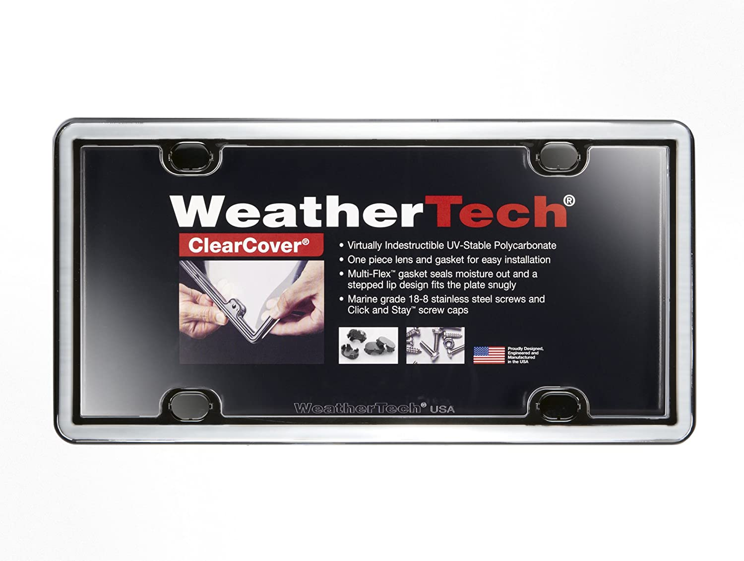 Red WeatherTech 8ALPCC1 ClearCover License Plate Frame