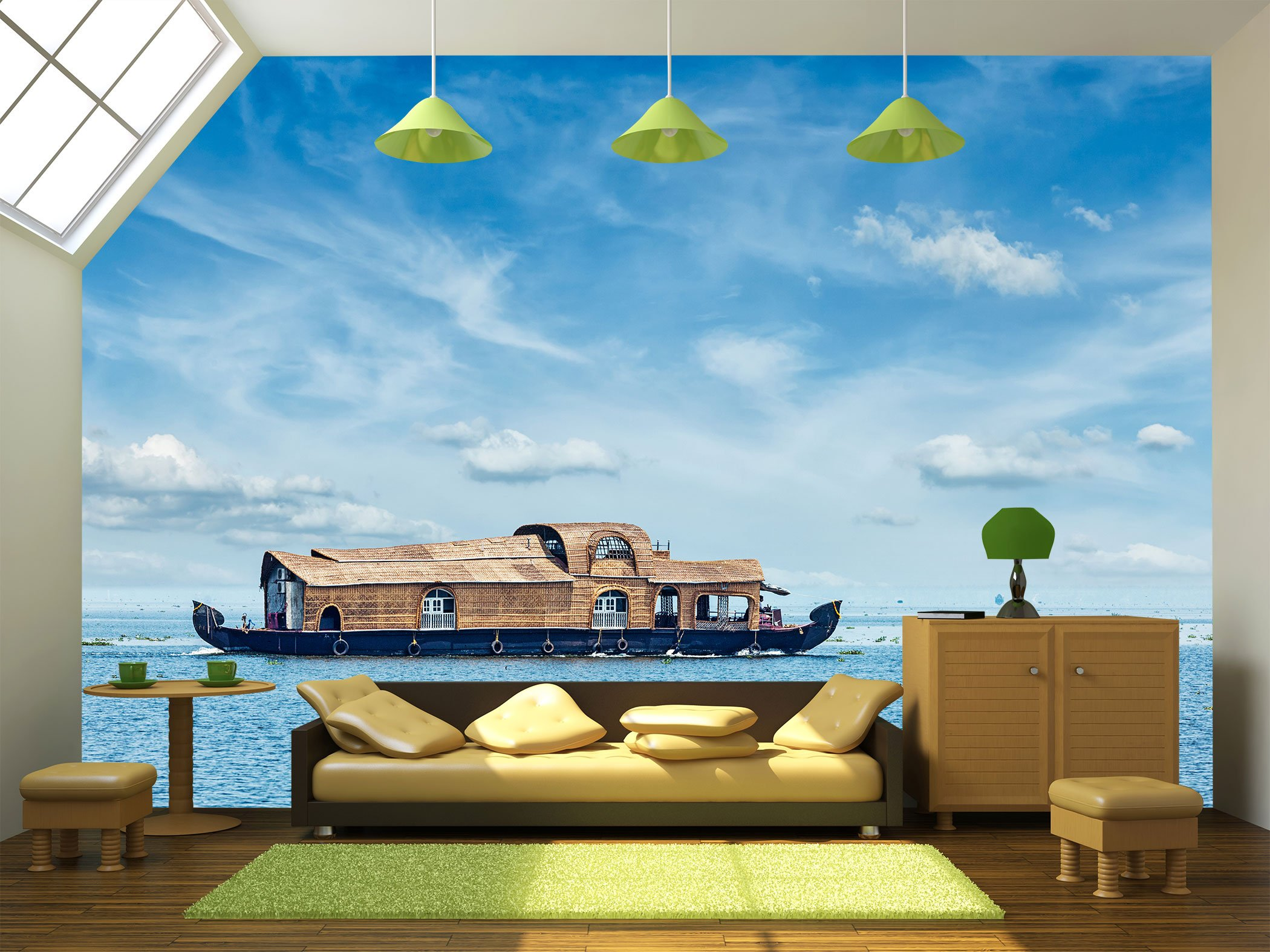wall26 - Tourist houseboat in Vembanadu Lake, Kerala, India - Removable Wall Mural | Self-adhesive Large Wallpaper - 100x144 inches