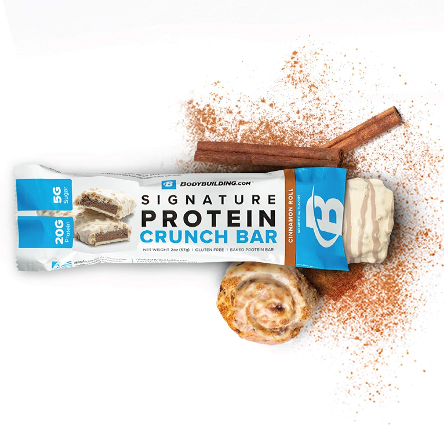 Bodybuilding Signature Protein Crunch Bar | 20g Whey Protein Low Sugar | Gluten Free No Artificial Flavors | (12 Bars, Cinnamon ROLL)