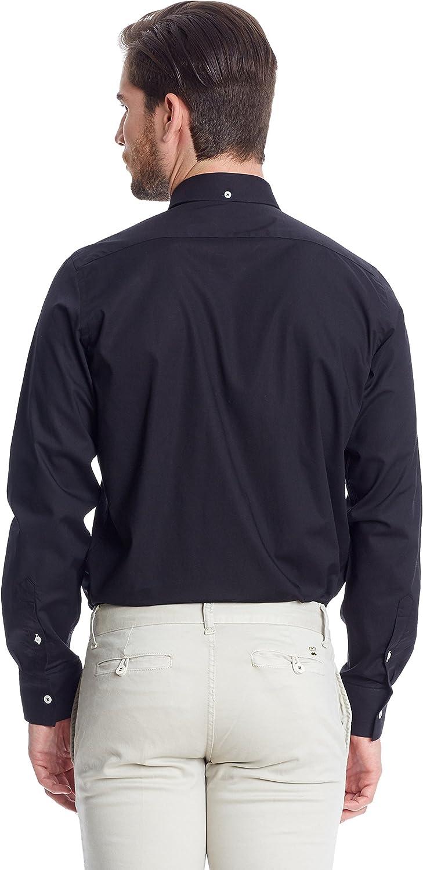 MAKARTHY Camisa Hombre Slim Fit Negro L: Amazon.es: Ropa y accesorios