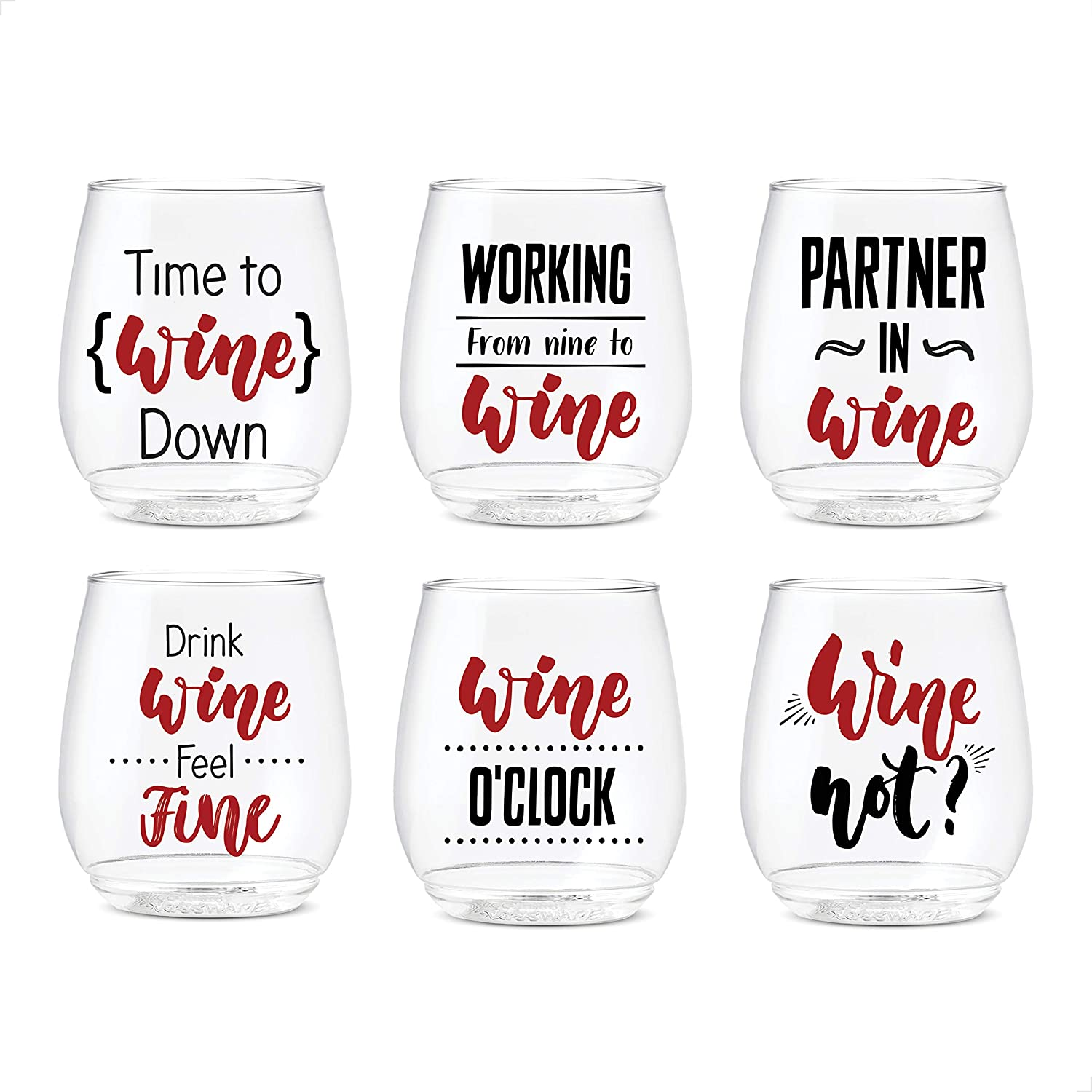 TOSSWARE 14oz All About Wine Series SET OF 6, Recyclable, Unbreakable & Crystal Clear Plastic Printed Glasses