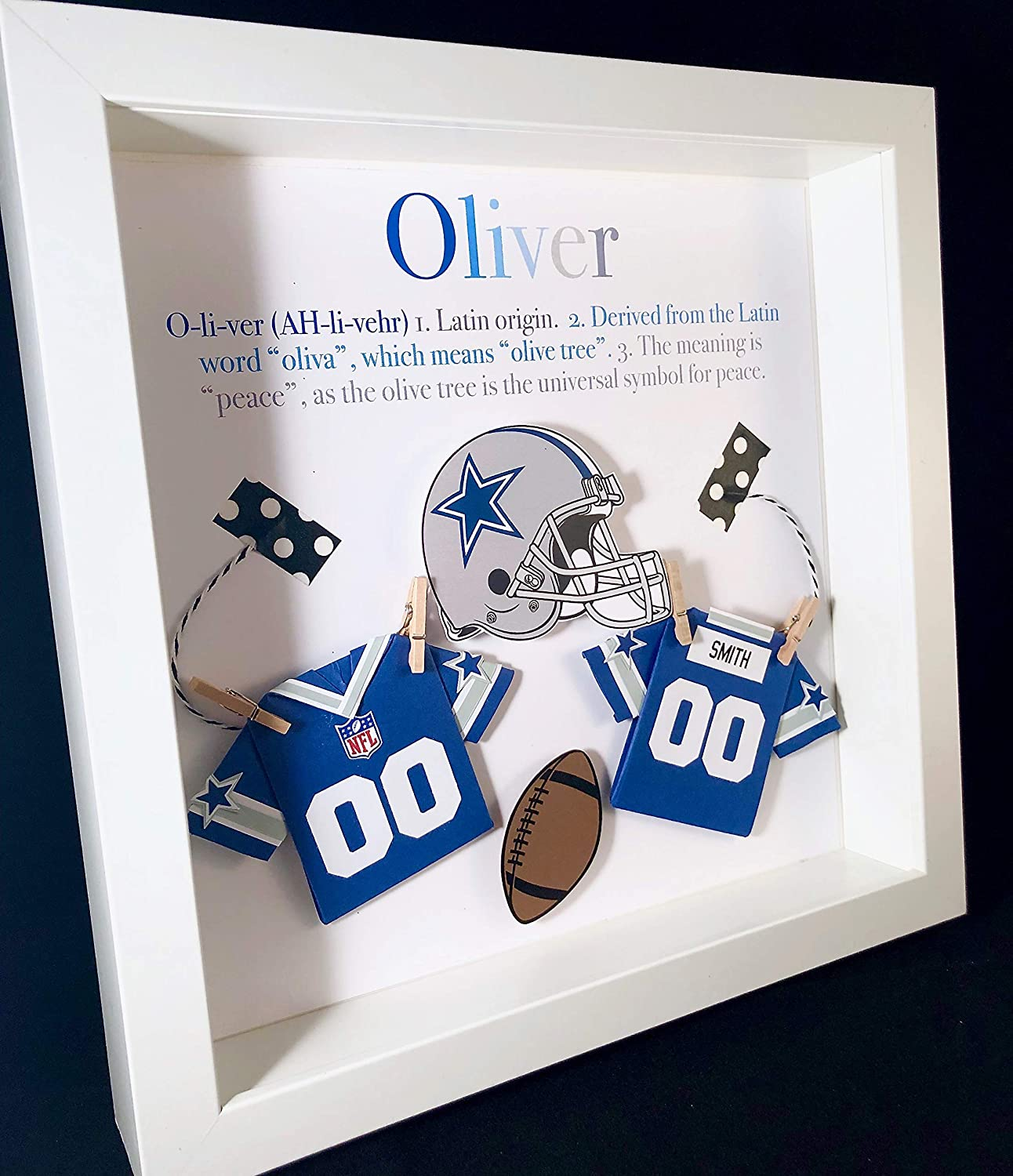 Amazon.com: Personalized Baby Boy Frame NFL Dallas Cowboys Football Gift  with Name, Origin and Meaning, NFL Cowboys Shirt, Nursery Decor Wall Art:  Handmade