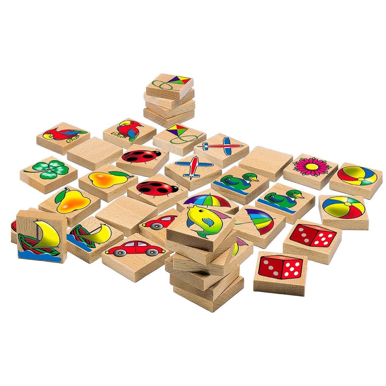 Eichhorn 100072402 - Bilder-Memo Spiel, 40 Steine mit 20 Motiven, FSC 100% Zertifiziertes Buchenholz, Made in Germany Heros Ab 24 Monaten Frühe Kindheit Frühkindliche Bildung