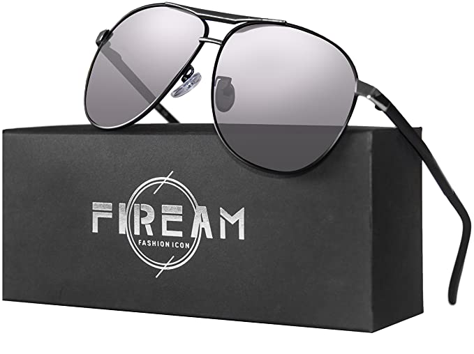 83ebc33b110 Mens Women Hot Classic Retro Driving Polarized Wayfarer 100% UV400  Protection Rectangle Sunglasses (BlacksliverFrame