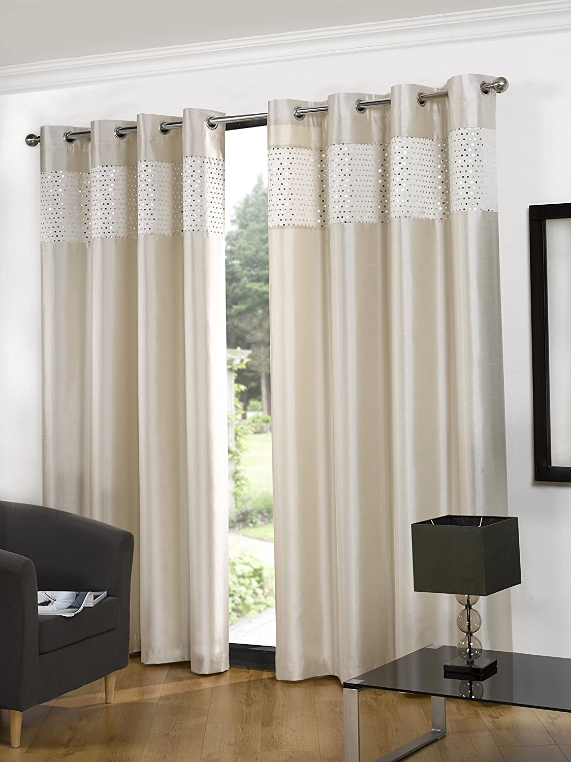 readymade htm curtains eyelet hill black cream and nottinghill faupel notting