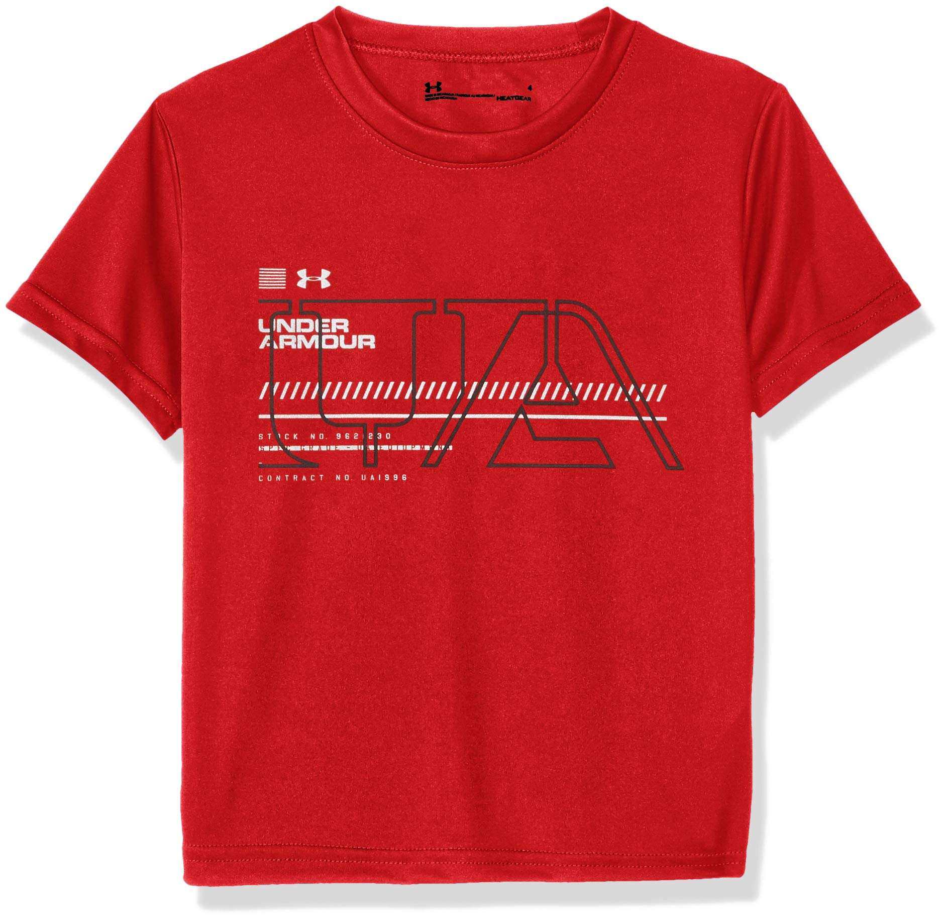 Under Armour Boys' Little Big Logo Short Sleeve Tee Shirt, Red-S192, 6 by Under Armour