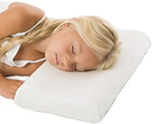 Hypoallergenic Adjustable-Height Memory Foam Cervical Pillow for Children and Toddlers with 100% Bamboo Pillowcase.