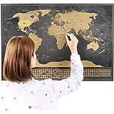 Mappa del mondo con bandiere XXL da grattare + BONUS A4 mappa del Regno Unito! – poster personalizzato per tracciare i viaggi – Ricorda e condividi le tue avventure | Disegno unico di ENNO VATTI (Nero | 84 x 58 cm)