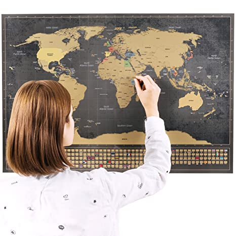 Amazon scratchable world map with bonus a4 map of the us scratchable world map with bonus a4 map of the us remember and share your adventures gumiabroncs Choice Image