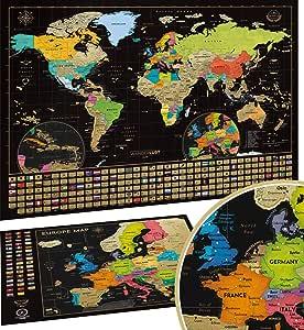 Mapa Mundi Rascar (61 X 43 cm) + Mapa Europa Rascar (46 X 33 cm). El paquete de regalo incluye una herramienta para rascar con precisión y pegatinas de recuerdo de viajes,