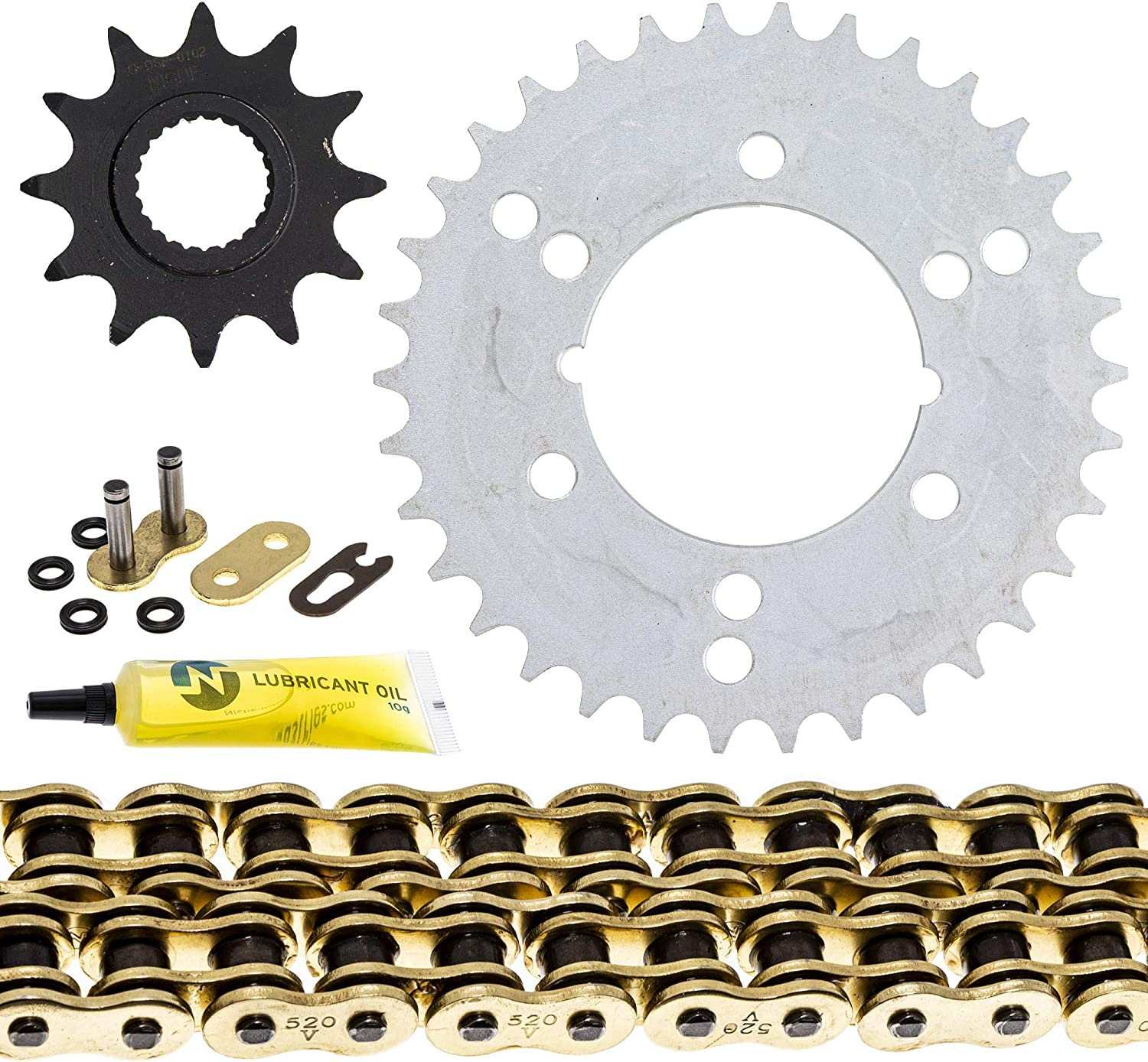NICHE Drive Sprocket Chain Combo for Polaris Xpress 300 Trail Boss 350L Front 12 Rear 34 Tooth 520V O-Ring 86 Links
