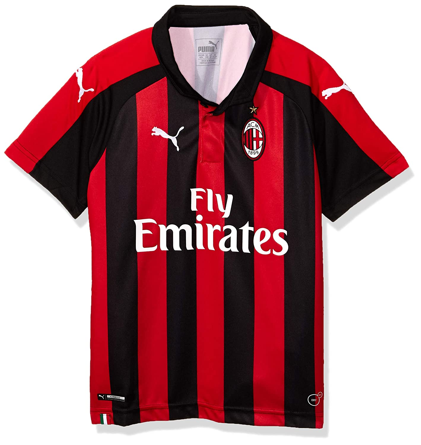 Puma Jungen Ac Milan Home Shirt Replica Ss Kids with Sponsor Logo Trikot