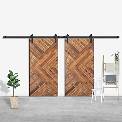 SMARTSTANDARD 13 FT Double Door Sliding Barn Door Hardware (Black) (J Shape  Hangers