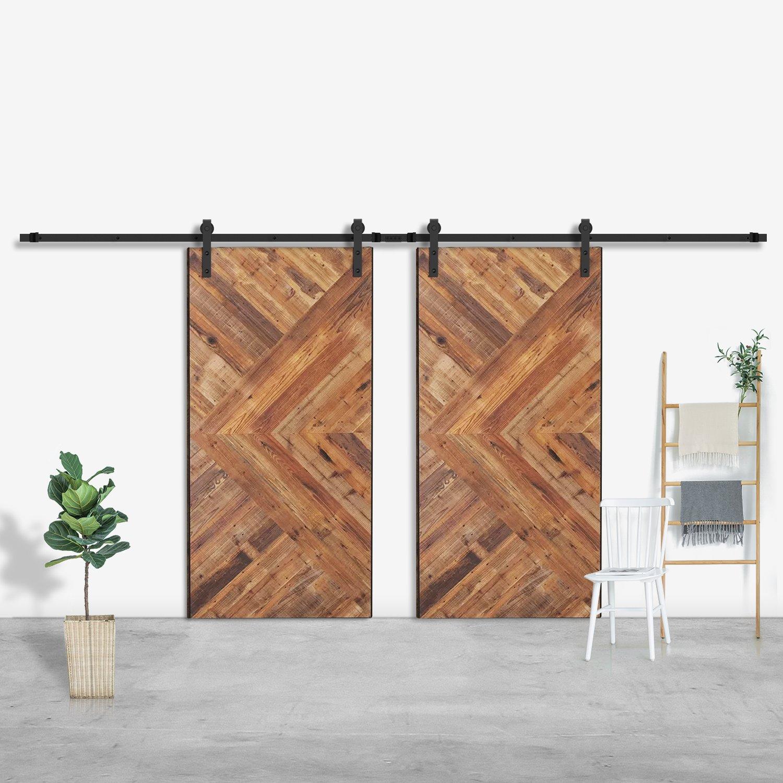 SMARTSTANDARD 16ft Double Door Sliding Barn Door Hardware (Black) (J Shape Hangers) (2 x8 foot Rail)