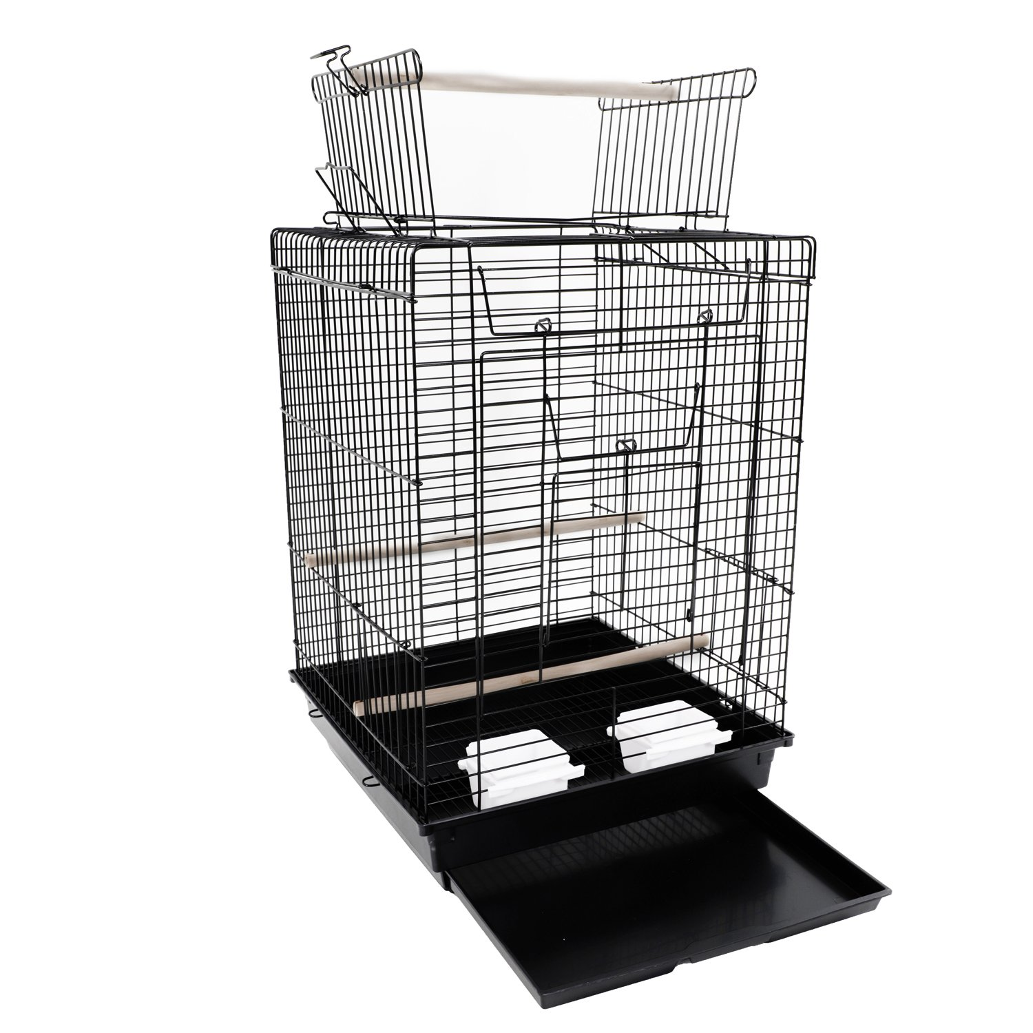 Yoshioe 23'' Bird Metal Cage for Parrot Lovebirds Parakeets with Wood Perches Food Cups Top- Ideal Open Play Black by Yoshioe