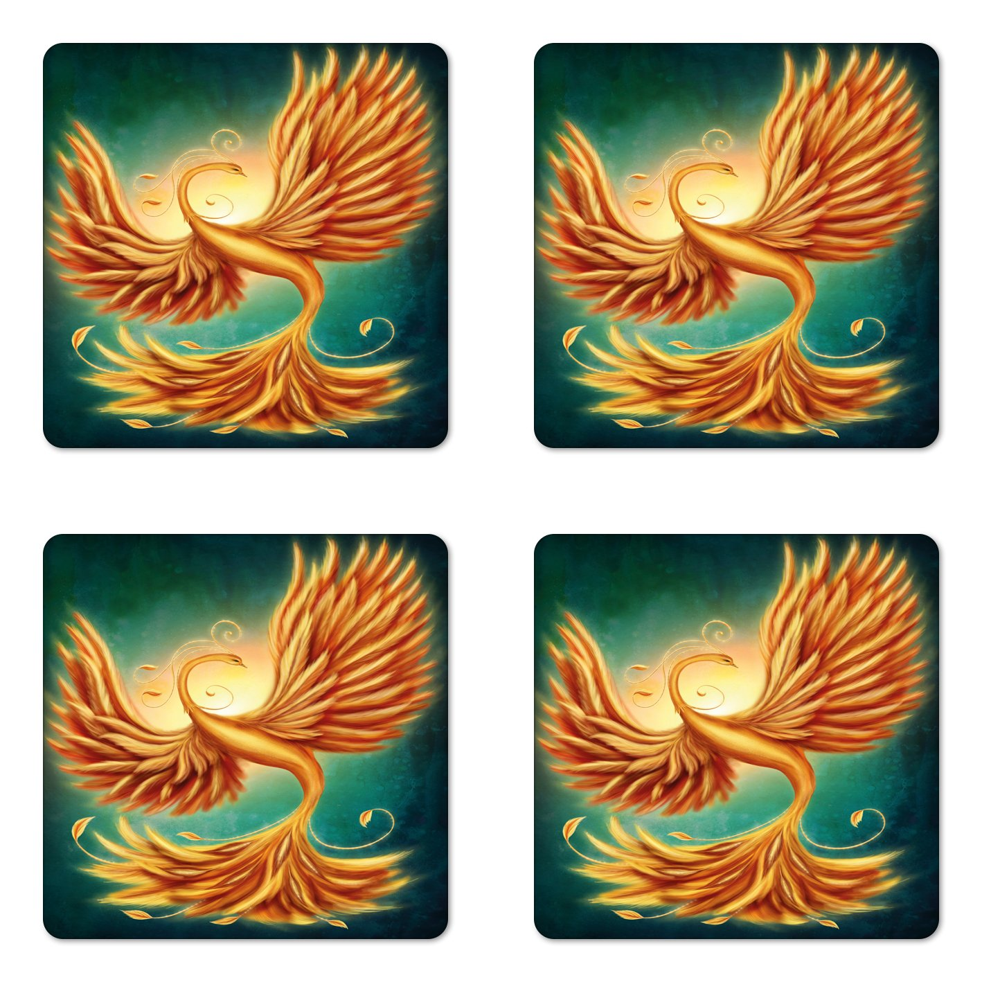 Square Hardboard Gloss Coasters for Drinks Marigold and Emerald Lunarable Modern Coaster Set of Four Phoenix Magical Charming Bird Feathers with Alluring Swirls Work of Art