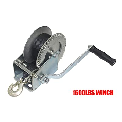 OPENROAD 1600lb Hand Winch,10M Strap Hand Crank Gear Winch Boat Trailer Winch: Home Improvement
