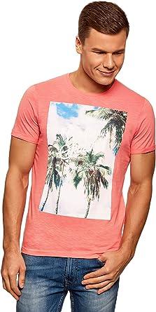 oodji Ultra Hombre Camiseta Estampado Palmeras: Amazon.es: Ropa y accesorios