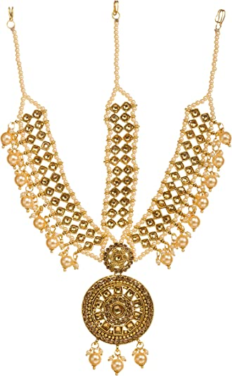 Bindhani Indian Bollywood Style Wedding Gold Plated Maang Tikka