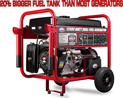 All Power America APGG12000GL 12000 Watt Dual Fuel Portable Generator with Electric Start 12000W Gas Propane, Black Red