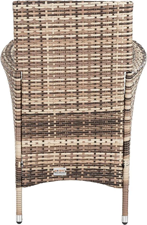 ESTEXO Polyrattan Gartenstuhl Set 2er Stuhlset Rattan Stuhl Garten Sessel Rattanstühle Balkonstühle Terrassenstühle Outdoor Stühle Balkonsessel