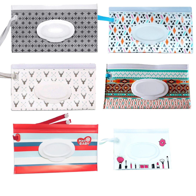 Wiederverwendbare Feuchttuch-Beutel [6er-Set] - Streifenspender für Baby- oder persönliche Feuchttücher, Feuchttücher für tragbare Reisekoffer KRUCE