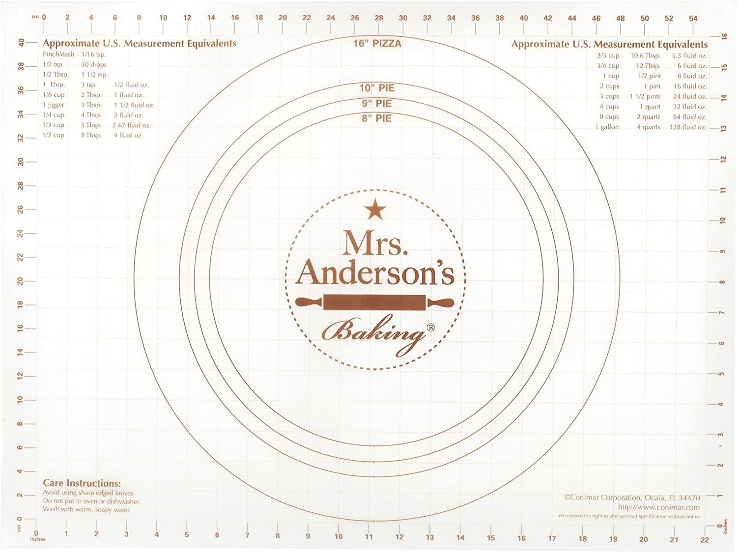 Mrs. Anderson's Baking Non-Slip Pastry Rolling Mat, 18-Inch by 24-Inch