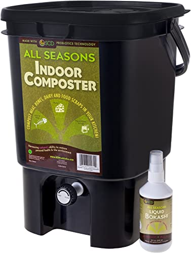 All Seasons SCD Probiotics K201 Indoor Composter Kit, Black Bucket 8oz. Liquid Bokashi