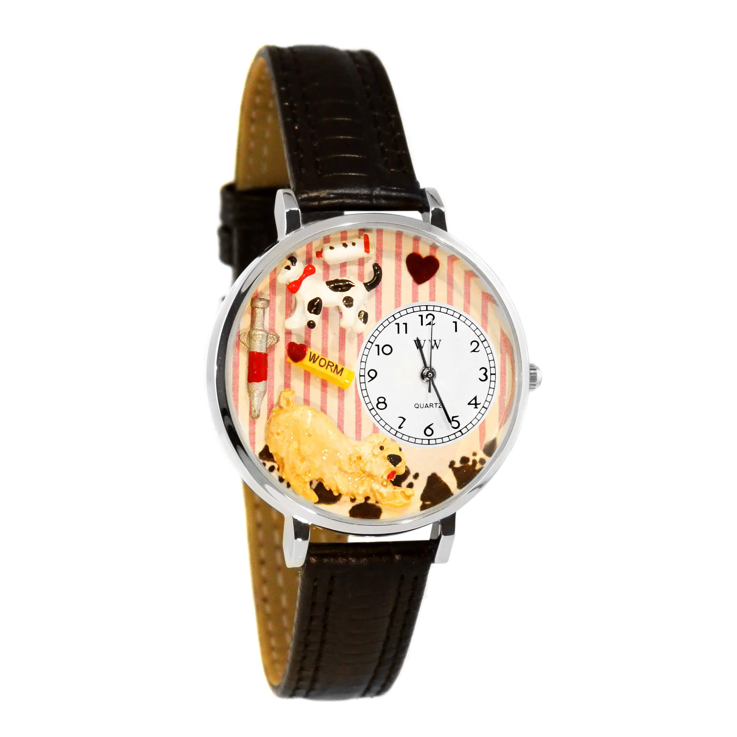Whimsical Watches Unisex U0630003 Veterinarian Black Padded Leather Watch
