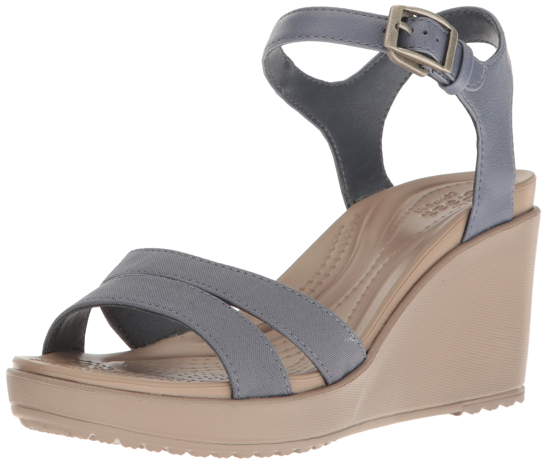 Crocs Women's Leigh II Ankle Strap W Wedge Sandal, Storm/Mushroom, 8 M US
