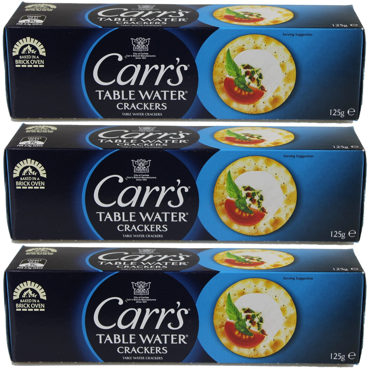 Carrs Table Water Crackers, (4.40-Ounce 125gm) (Pack of 3) by The Truly Scrumptious Baking Company