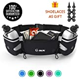G-Run Hydration Running Belt with Bottles - Water Belts for Woman and Men - iPhone Belt for Any Phone Size - Fuel Marathon Race Pack for Runners - Jogging Waist Pouch…