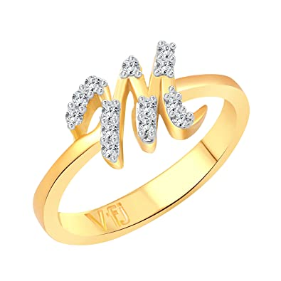 Buy Vighnaharta initial M Letter CZ Gold and Rhodium Plated